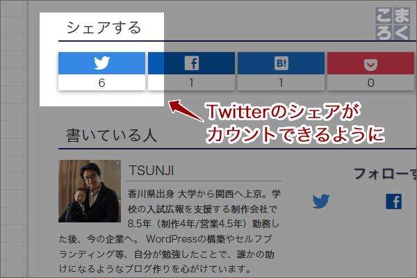 Twitterのシェア数を取得できるように修正した画像