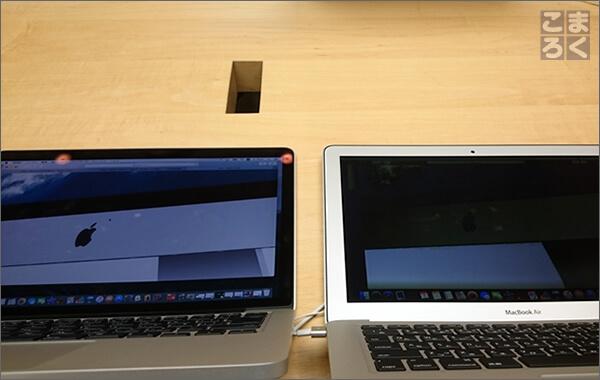 MacBookの画面を傾けて下から覗いた画像