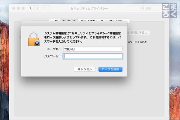 パスワードを入力して「ロックを解除」をクリック