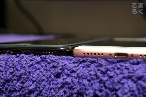 iPhone7とiPhone7Plusの厚みを比較