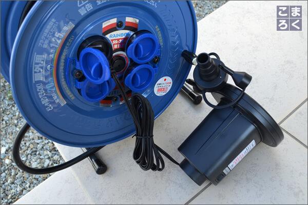 ACアダプター給電の電動空気入れの写真